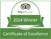 TripAdvisor Certificate of Excellence 2014 Winner